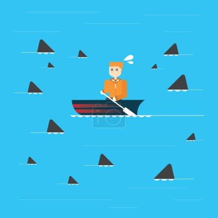 Illustration for Businessman in risk, vector,vector,illustration. - Royalty Free Image