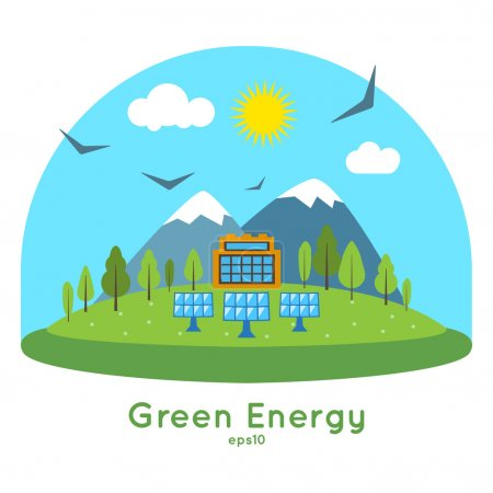 Flat design vector concept illustration of clean energy.