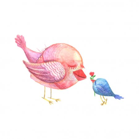 Illustration for Vector illustration, chick gives a flower to his mother. Watercolor - Royalty Free Image