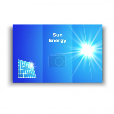 Vector illustration of a brochure with solar panels and sun on the sky background.