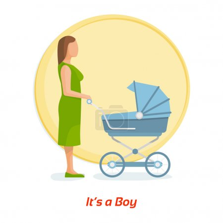 Mother and baby. Its a boy. Flat vector illustration.