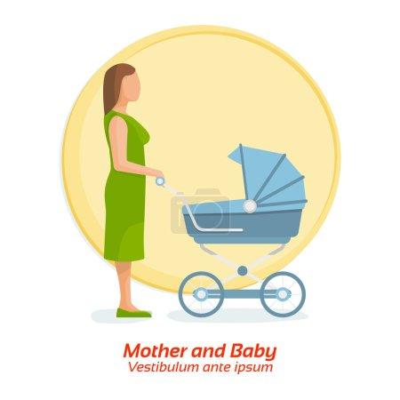 Mère et bébé. Ses un garçon. Illustration vectorielle plane