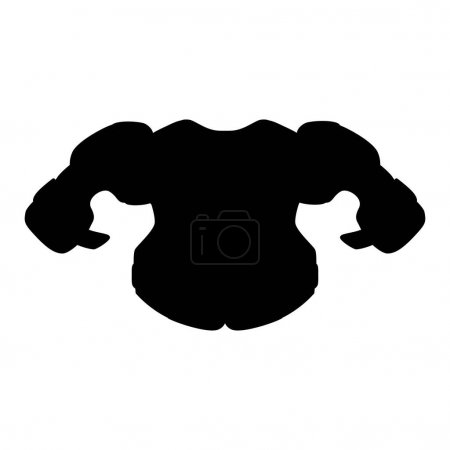 Illustration for Black isolated silhouette of shoulder pads. Vector illustration of hockey equipment on a white background. Use as a sticker, backing, mockup, souvenir, for sale, tattoo, laser cutting, etc. - Royalty Free Image