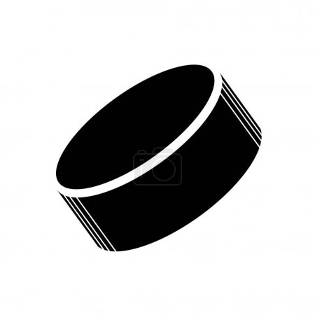 Illustration for Black isolated silhouette of a hockey puck. Icon. Vector illustration of hockey equipment on a white background. Use as a sticker, backing, mockup, souvenir, for sale, tattoo, laser cut, etc. - Royalty Free Image