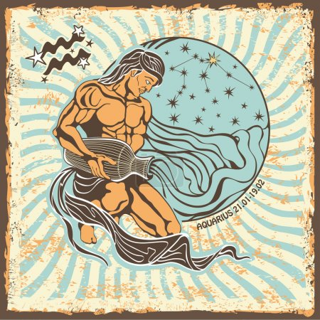 Aquarius zodiac sign.Vintage Horoscope card