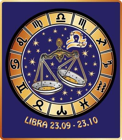 Photo pour Une Balance avec des symboles de tous les signes du zodiaque dans le cercle de l'horoscope. Figure dorée et blanche sur fond bleu.Illustration graphique dans un style rétro . - image libre de droit