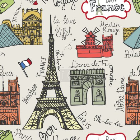 Photo for Paris landmark and lettering in seamless pattern,background,backdrop,wallpaper,fabric.Doodle sketchy . - Royalty Free Image