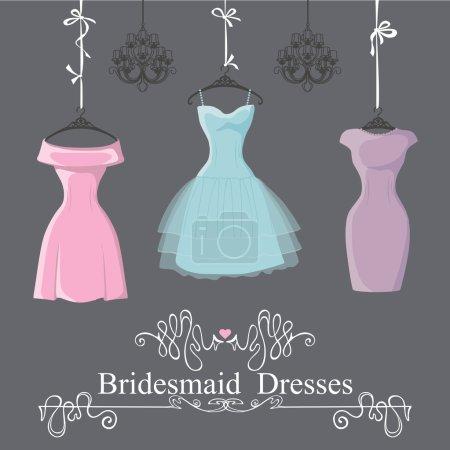 Three short bridesmaid dresses