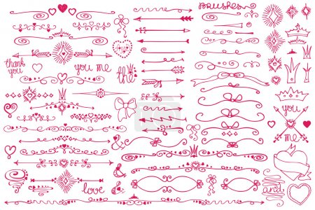 Photo for Colored Doodles labels,badges, arrow and hearts, crown,love decor elements set,borders  dividers.For design templates invitations card. Childrens hand drawing style. For weddings,Valentines day, all holidays.Baby design.Birthday - Royalty Free Image