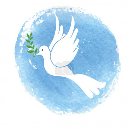 Peace day. White pigeon bird watercolor blue sky t...