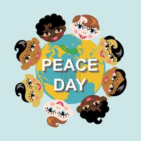 Foto de Día de la paz.Globo de la tierra con rostros de niños de varias nacionalidades ilustración.Cartel de educación.Olive laurel branch.Amistad, paz, infancia - Imagen libre de derechos