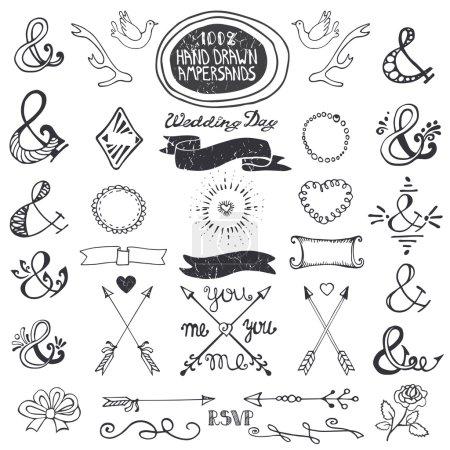 Hand drawing lettering ampersands set.