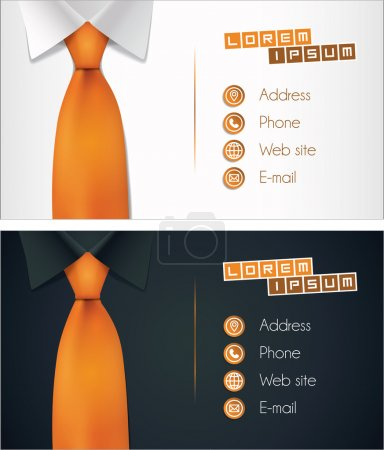 Business card design, shirt and tie illustration