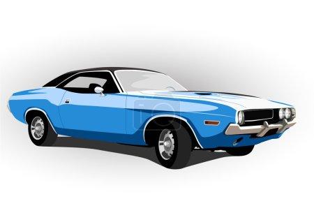 Illustration for Blue classic hot car vector illustration - Royalty Free Image