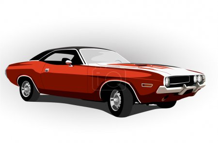 Illustration for Red classic muscle car vector illustration - Royalty Free Image