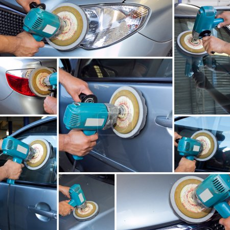 Collage polishing car at automobile repair