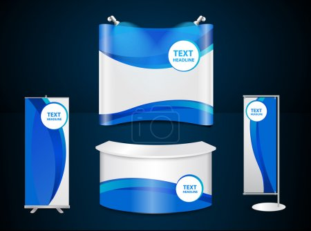 Exhibition stands with blue corporate identity template