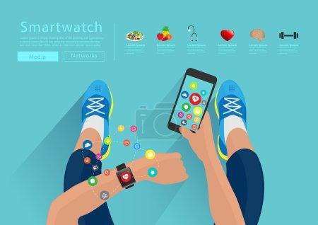 Illustration pour Fitness femme main avec bracelet de montre tactile smartwatch écran, tenant téléphone mobile avec des applications icônes idées de design plat concepts vivre une vie saine, modèle de mise en page illustration vectorielle - image libre de droit