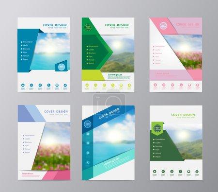 Illustration for Annual report brochure flyer design template vector, Set of leaflet cover presentation nature landscape background, layout in A4 size - Royalty Free Image
