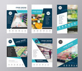 Blue fold set annual report brochure flyer design supermarket in blurry background