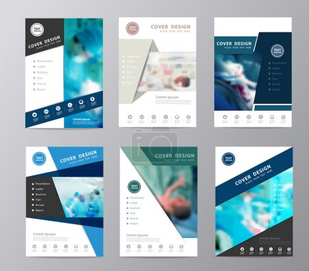 Blue annual report brochure flyer design operating room background
