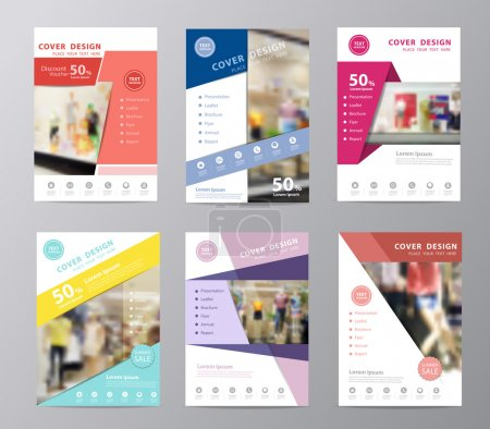 Illustration for Set of annual report brochure flyer design template vector, Leaflet cover presentation, Page layout in A4 size with blurred clothing store front entrance displaying woman and men fashion background - Royalty Free Image