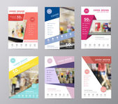 Set of annual report brochure flyer design displaying fashion background