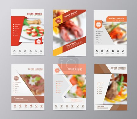 Set of annual report brochure flyer design food blurred background