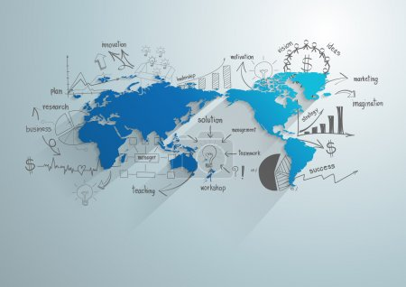 Illustration for World map with creative drawing chart and graphs business success strategy plan idea, Business world concept modern design template workflow layout, diagram, step up options, Vector illustration - Royalty Free Image