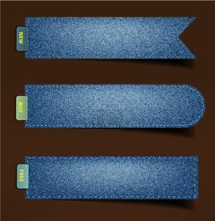 Blue denim badges