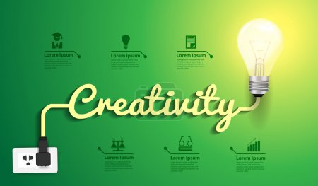 Illustration pour Light bulb with socket, Creativity lettering, and assorted icons, vector illustration - image libre de droit