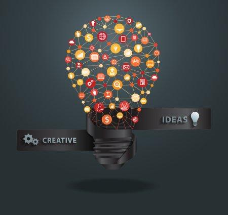 Illustration for Modern lightbulb business infographic template, vector illustration - Royalty Free Image
