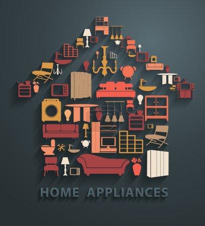 Illustration pour Icônes d'appareils ménagers en forme de maison, illustration vectorielle - image libre de droit