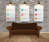 Mock up posters with retro hipster interior background