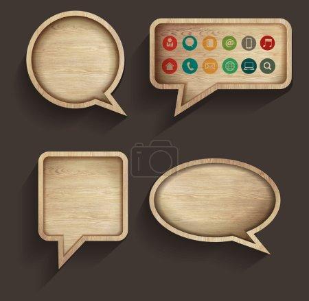 Vector wood sign of speech bubbles template design