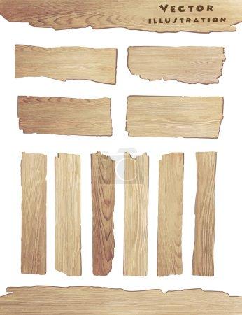 Illustration pour Vieille planche de bois isolée sur fond blanc, illustration vectorielle - image libre de droit