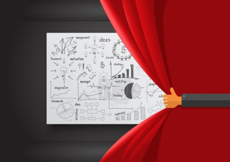 Illustration for Hand opening red curtain, With creative drawing business success strategy plan ideas, Inspiration concept modern design template layout, diagram, Vector illustration - Royalty Free Image