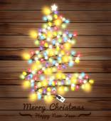 Christmas tree made of christmas lights Vector illustration tem