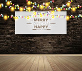 Blank billboard or poster on wall room with christmas lights