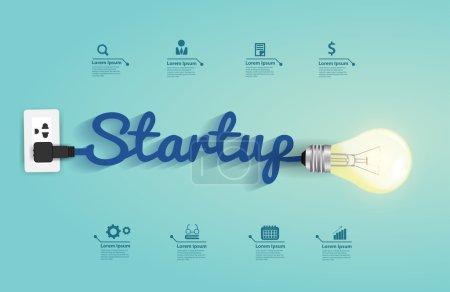 Illustration pour Concept de démarrage avec idée d'ampoule créative, illustration vectorielle modèle de mise en page design moderne - image libre de droit