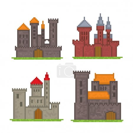 Castles and fortresses icons. Pixel art