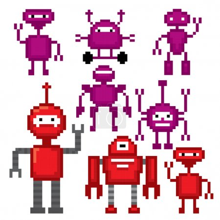 Cartoon Robots set. Pixel art.