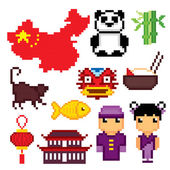 China culture symbols icons set