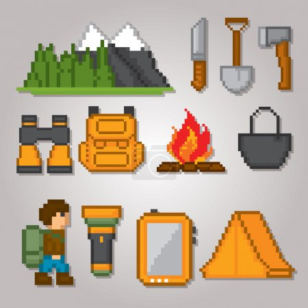 Illustration for Camping and hiking icons set. Pixel art. Old school computer graphic style. - Royalty Free Image