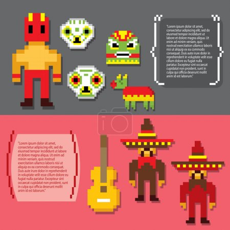 Mexico culture banner icons set
