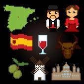 Spain culture symbols icons set Spain travel set Pixel art icons Spain pixel art Spain tourism set Pixel art Old school computer graphic style