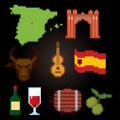 Spain culture symbols icons set