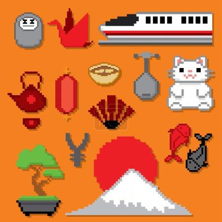 Japan icons banner. Pixel art