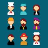 Profession pixels icons set