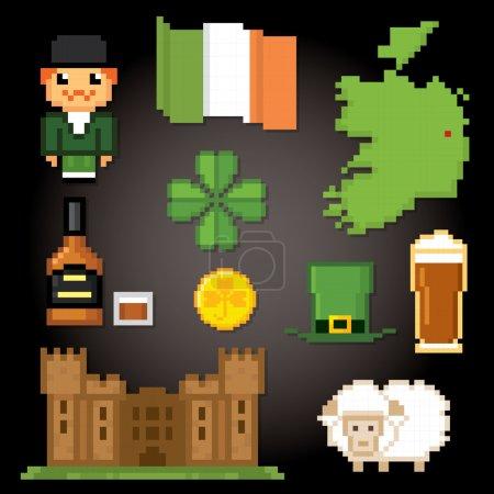 Ireland culture symbols icons set